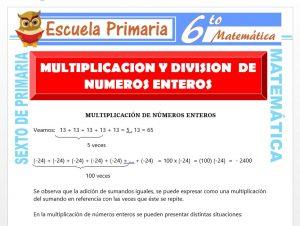 Modelo de la Ficha de Multiplicación y División de Números Enteros para Sexto de Primaria