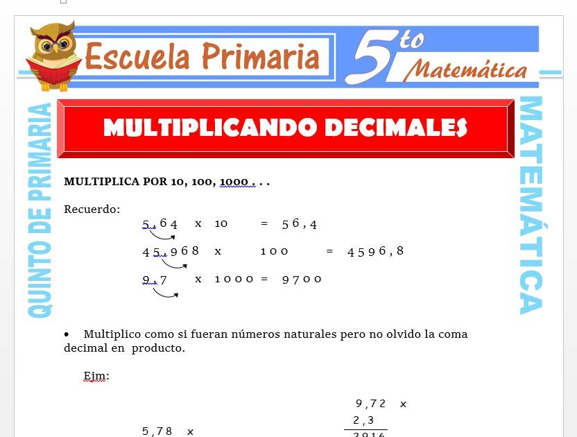 Modelo de la Ficha de Multiplicando Decimales para Quinto de Primaria