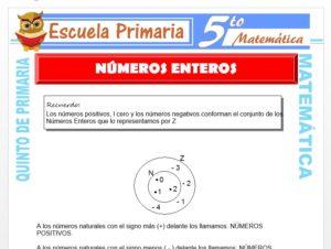 Modelo de la Ficha de Números Enteros para Quinto de Primaria