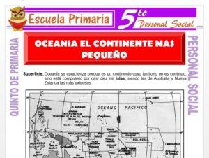 Modelo de la Ficha de Oceanía el Continente más Pequeño para Quinto de Primaria