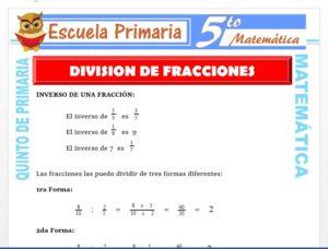 Modelo de la Ficha de Operaciones de División con Fracciones para Quinto de Primaria