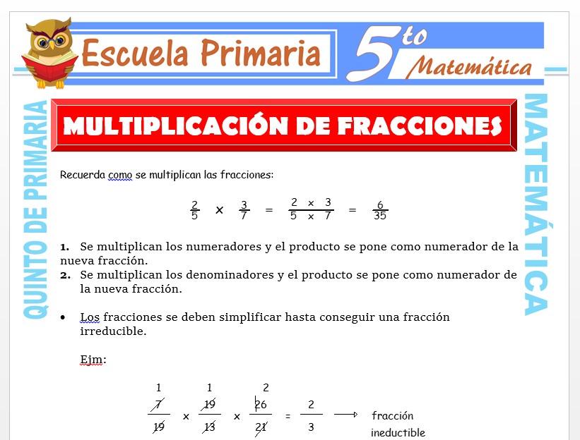Modelo de la Ficha de Operaciones de Multiplicación con Fracciones para Quinto de Primaria