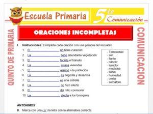 Modelo de la Ficha de Oraciones Incompletas para Quinto de Primaria