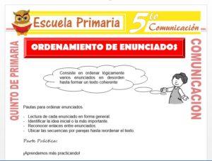 Modelo de la Ficha de Ordenamiento de Enunciados para Quinto de Primaria