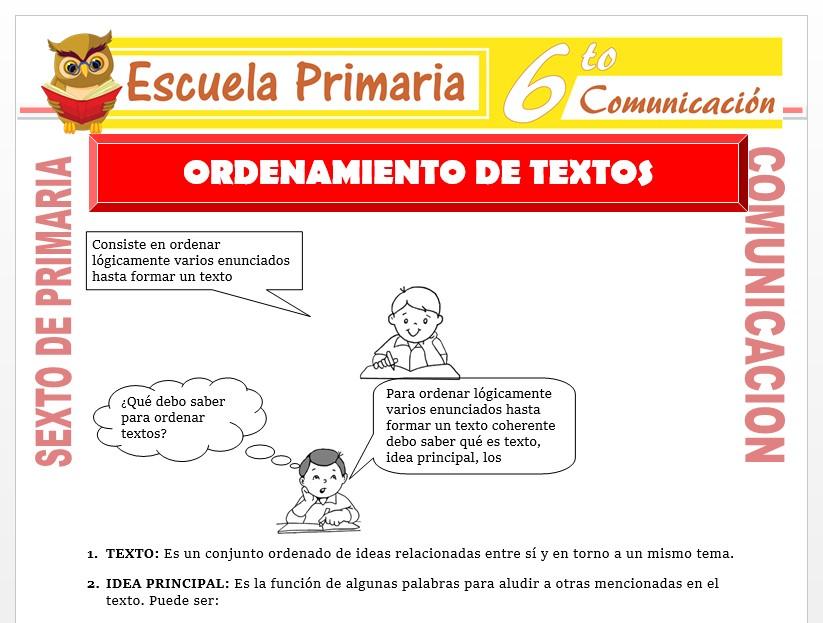 Modelo de la Ficha de Ordenamiento de Texto para Sexto de Primaria