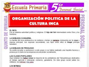 Modelo de la Ficha de Organización Política de la Cultura Inca para Quinto de Primaria