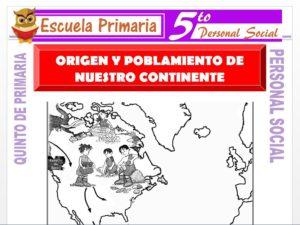 Modelo de la Ficha de Origen y Poblamiento de Nuestro Continente para Quinto de Primaria