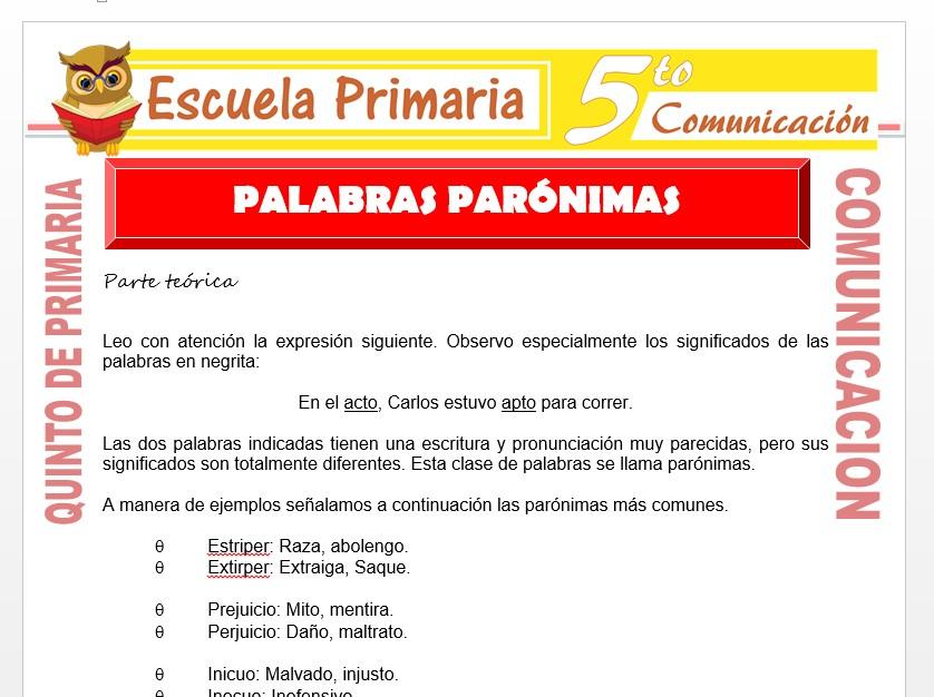 Modelo de la Ficha de Palabras Parónimas para Quinto de Primaria