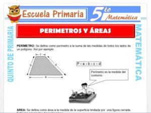 Modelo de la Ficha de Perimetros y Areas para Quinto de Primaria