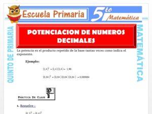 Modelo de la Ficha de Potenciación de Números Decimales para Quinto de Primaria