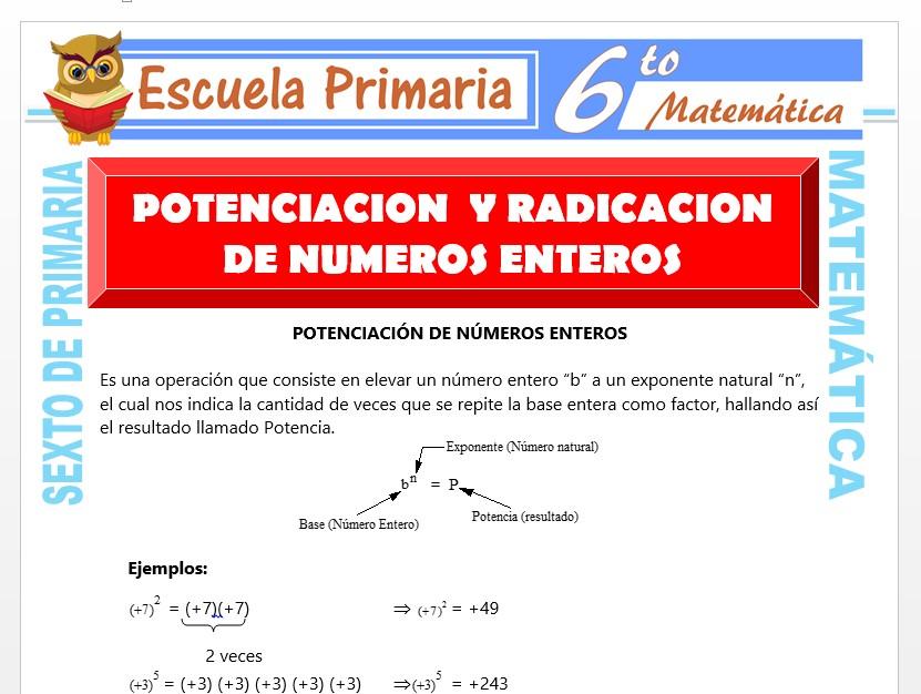 Modelo de la Ficha de Potenciación y Radicación de Números Enteros para Sexto de Primaria