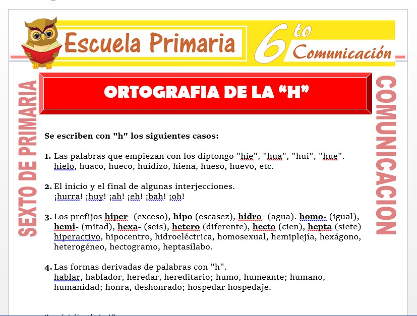 Modelo de la Ficha de Práctica de Ortografía de la H para Sexto de Primaria