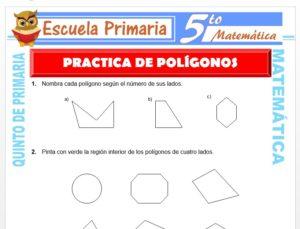 Modelo de la Ficha de Práctica de Polígonos para Quinto de Primaria