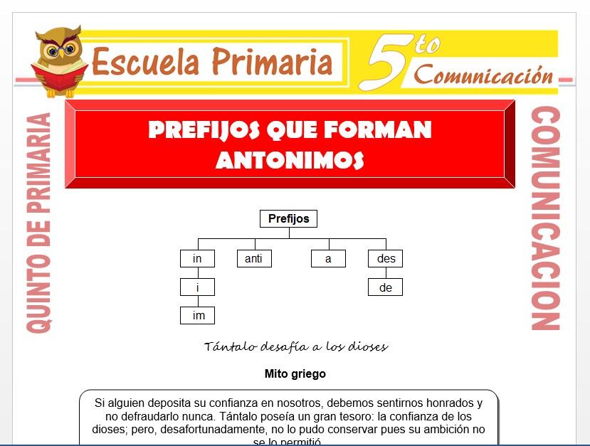 Modelo de la Ficha de Prefijos que Forman Antónimos para Quinto de Primaria