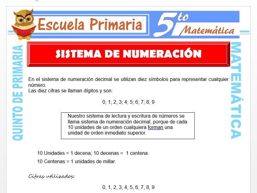 Modelo de la Ficha de Principales Sistemas de Numeración para Quinto de Primaria