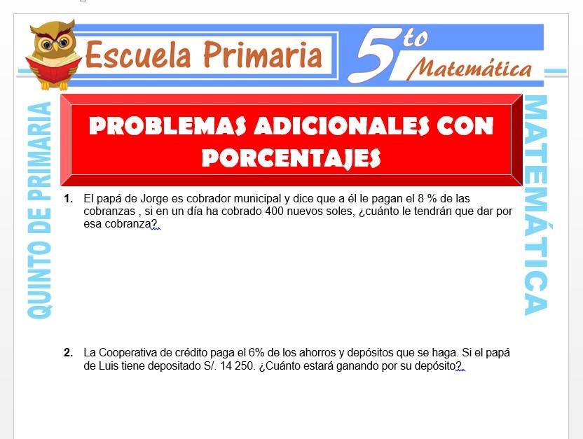 Modelo de la Ficha de Problemas Adicionales con Porcentajes para Quinto de Primaria