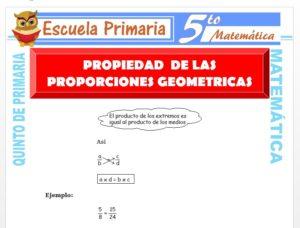 Modelo de la Ficha de Propiedad Fundamental de la Proporción Geométrica para Quinto de Primaria
