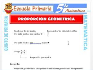 Modelo de la Ficha de Proporción Geométrica para Quinto de Primaria