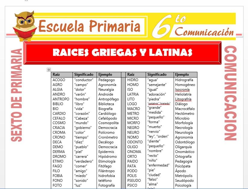 Modelo de la Ficha de Raices Griegas y Latinas   para Sexto de Primaria