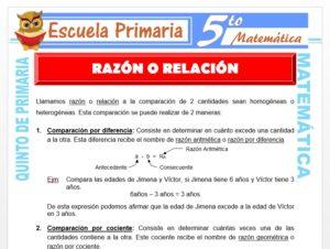 Modelo de la Ficha de Razón o Relación para Quinto de Primaria