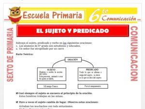 Modelo de la Ficha de Reconociendo el Sujeto y el Predicado para Sexto de Primaria
