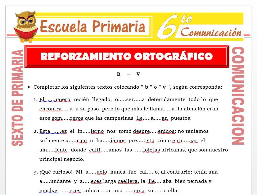 Modelo de la Ficha de Reforzamiento Ortográfia para Sexto de Primaria
