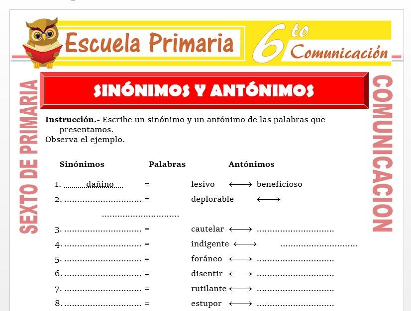 Modelo de la Ficha de Reforzamiento de Sinonimos y Antonimos para Sexto de Primaria