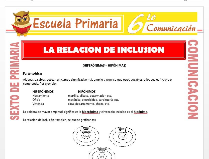 Modelo de la Ficha de Relación de Inclusión   para Sexto de Primaria