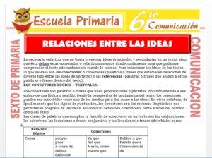 Modelo de la Ficha de Relaciones Entre las Ideas para Sexto de Primaria