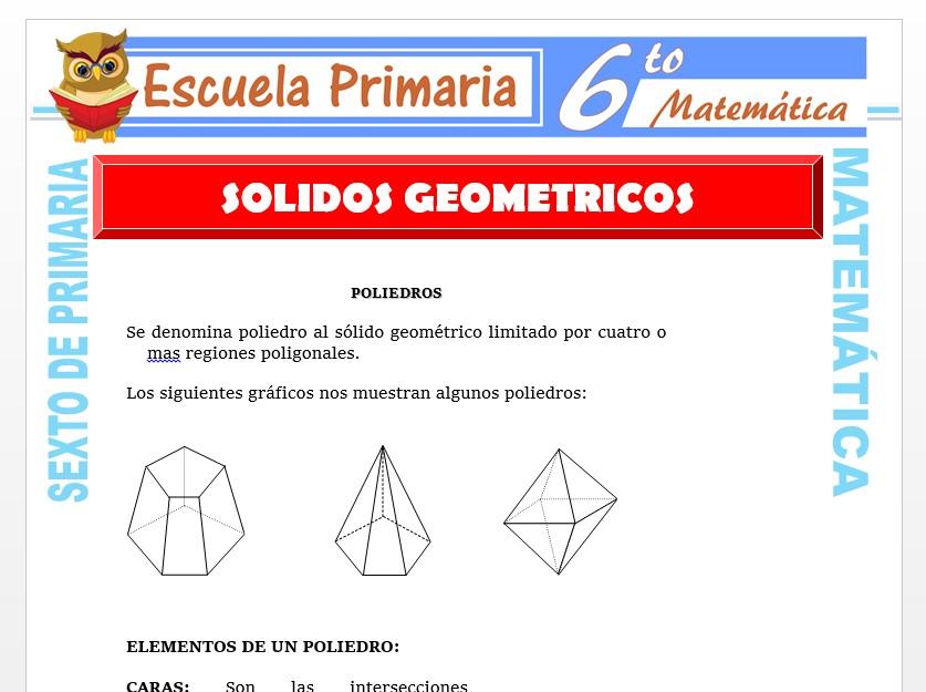 Modelo de la Ficha de Solidos Geométricos para Sexto de Primaria