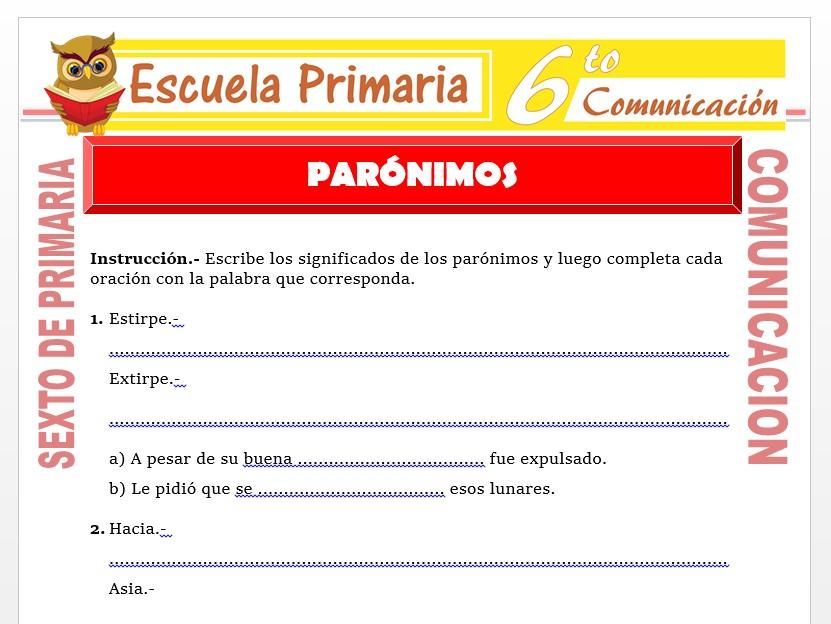 Modelo de la Ficha de Separata de Paronimos  para Sexto de Primaria