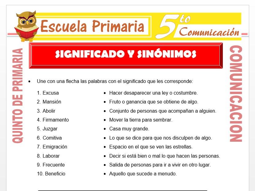 Modelo de la Ficha de Significados y Sinónimos para Quinto de Primaria