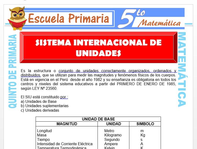 Modelo de la Ficha de Sistema Internacional de Unidades para Quinto de Primaria