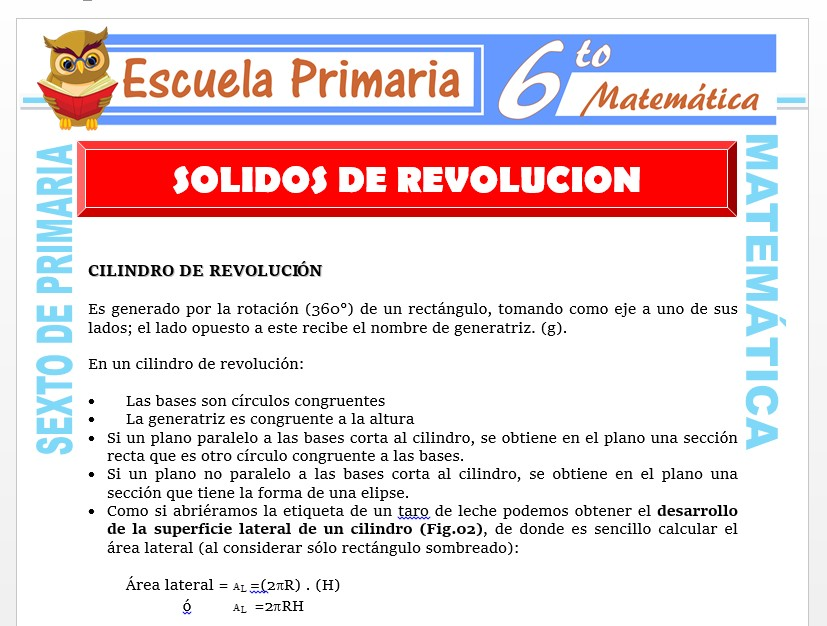 Modelo de la Ficha de Solidos de Revolución para Sexto de Primaria