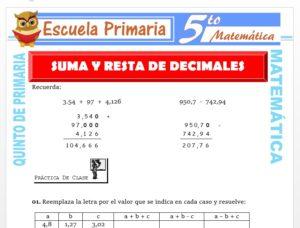 Modelo de la Ficha de Suma y Resta de Decimales para Quinto de Primaria