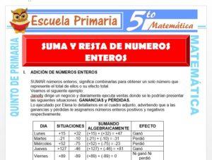 Modelo de la Ficha de Suma y Resta de Números Enteros para Quinto de Primaria