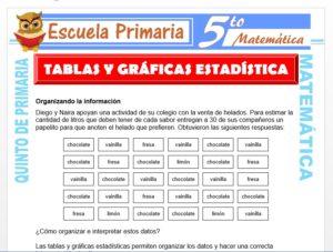Modelo de la Ficha de Tablas y Gráficas Estadísticas para Quinto de Primaria
