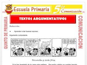 Modelo de la Ficha de Textos Argumentativos para Quinto de Primaria