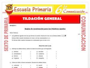 Modelo de la Ficha de Tildación General para Sexto de Primaria