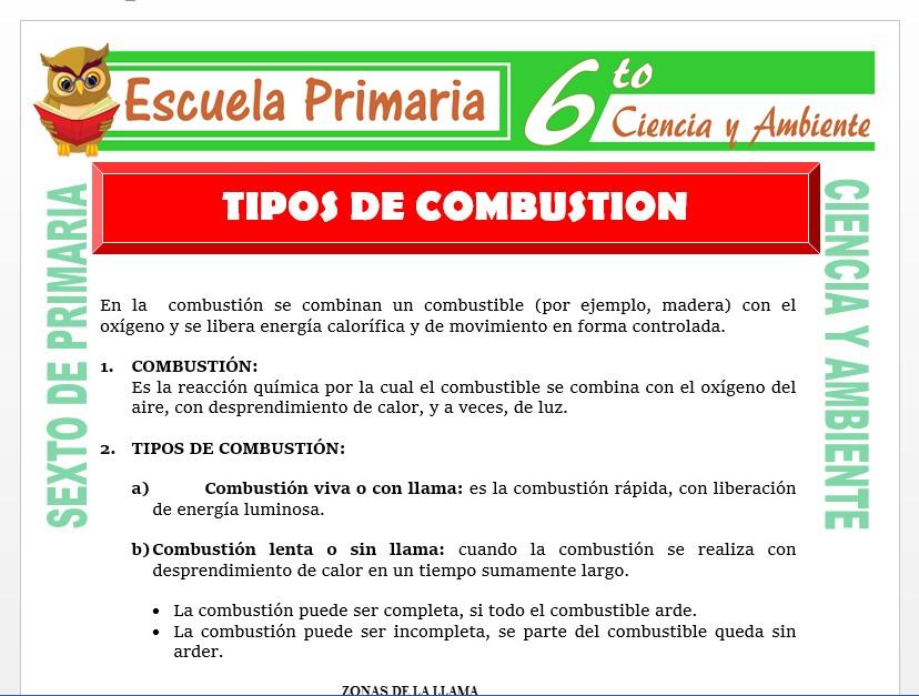 Modelo de la Ficha de Tipos de Combustión para Sexto de Primaria
