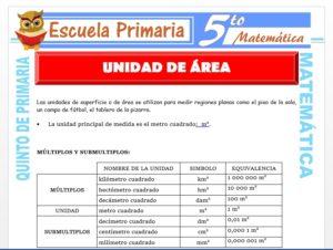 Modelo de la Ficha de Unidad de Área para Quinto de Primaria