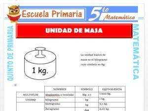 Modelo de la Ficha de Unidad de Masa para Quinto de Primaria