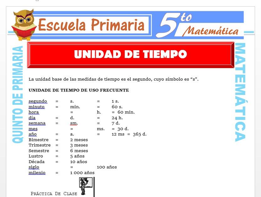 Modelo de la Ficha de Unidad de Tiempo para Quinto de Primaria
