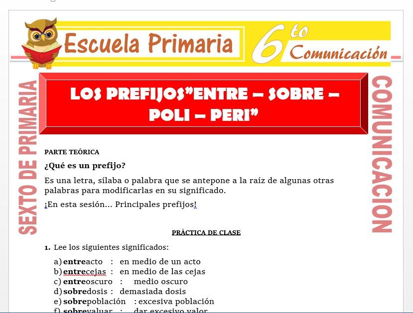 Modelo de la Ficha de Uso de los Prefijos Entre - Sobre - Poli y Peri para Sexto de Primaria