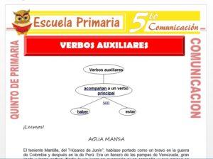 Modelo de la Ficha de Verbos Auxiliares para Quinto de Primaria