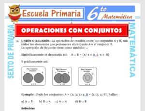 Modelo de la Ficha de Actividades de Operaciones para Sexto de Primaria