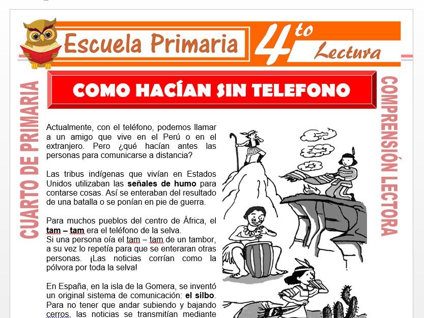 Modelo de la Ficha de Cómo Hacían Sin Teléfono para Cuarto de Primaria