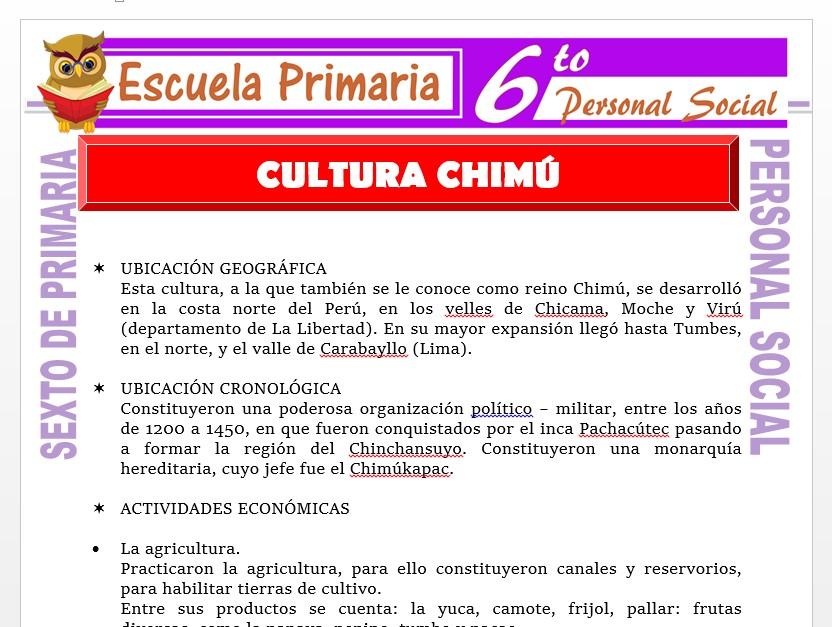 Modelo de la Ficha de Chimú y su Cultura    para Sexto de Primaria