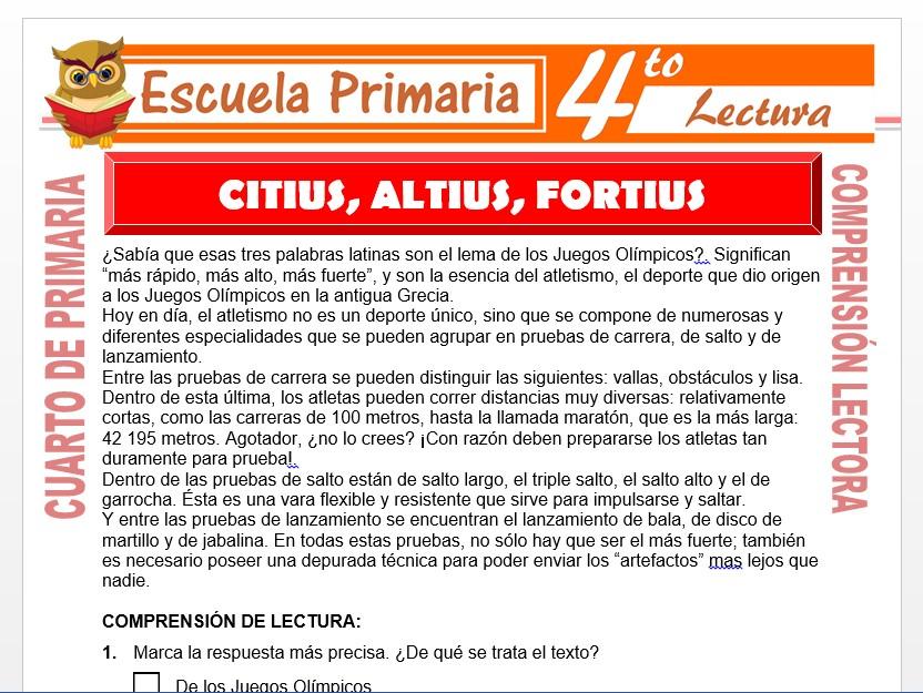 Modelo de la Ficha de Citius, Altius, Fortius para Cuarto de Primaria