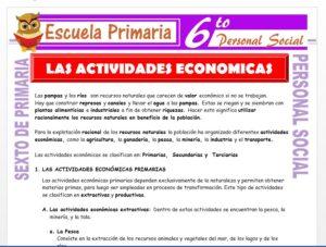 Modelo de la Ficha de Clasificación de Las Actividades Económicas para Sexto de Primaria
